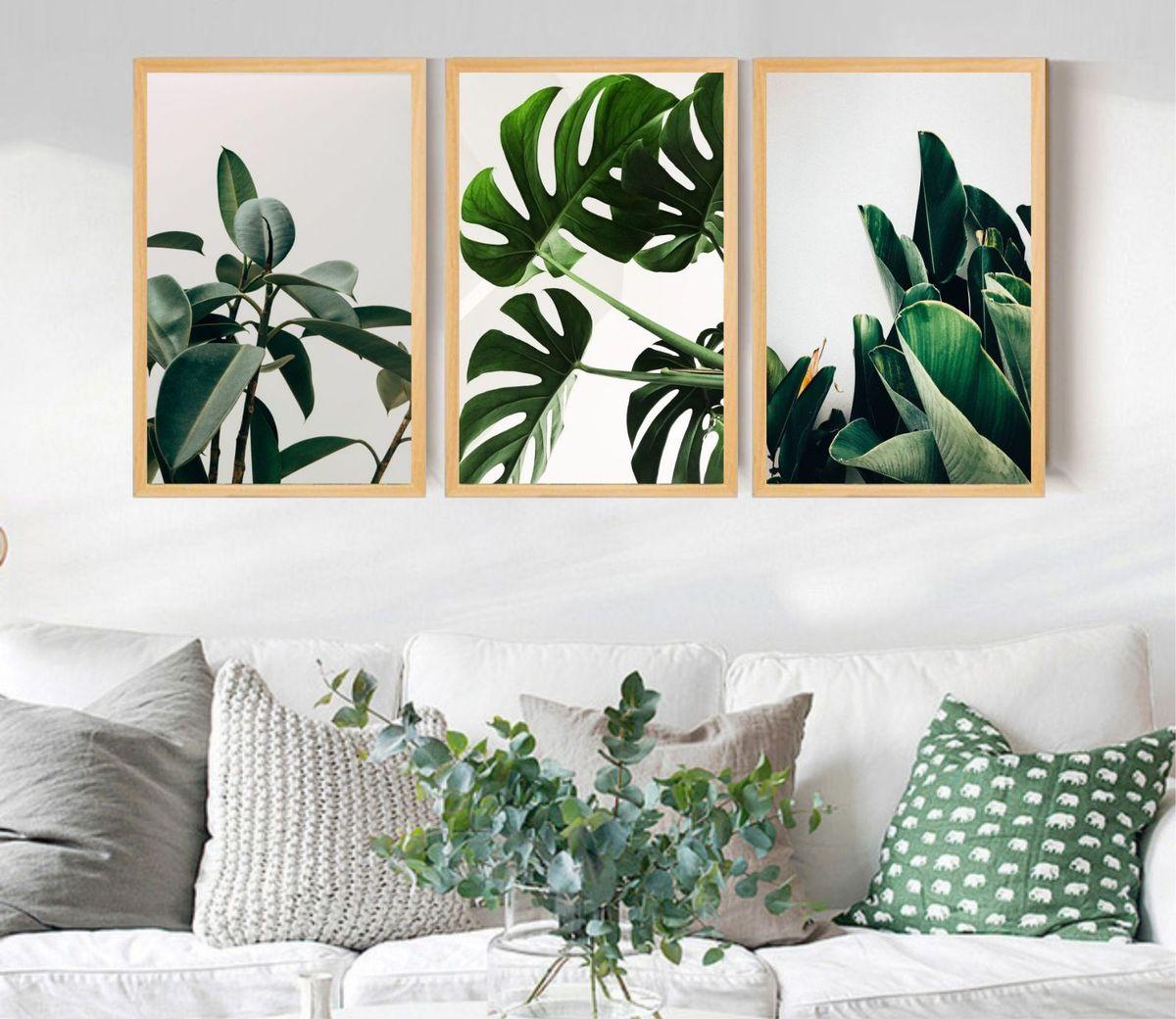 quadro decorativo folhagem moldura natural - decoração udinese quadros