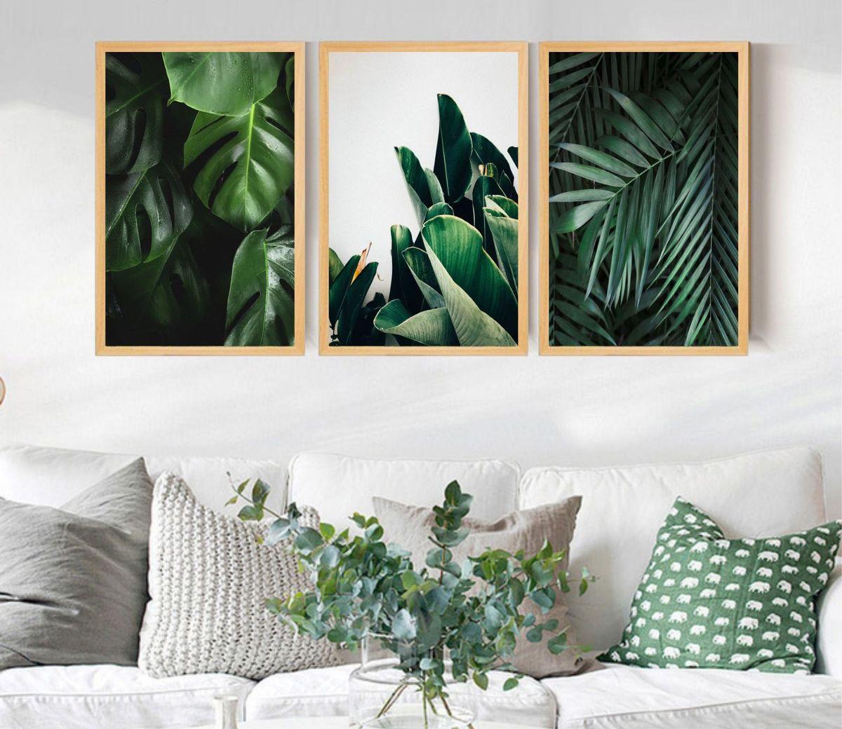 quadro moldura folhas verdes folhagens lindo - decoração udinese quadros