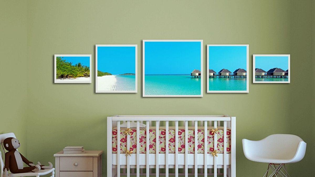 quadro praia molduras 5 peças - decoração luciana decorações