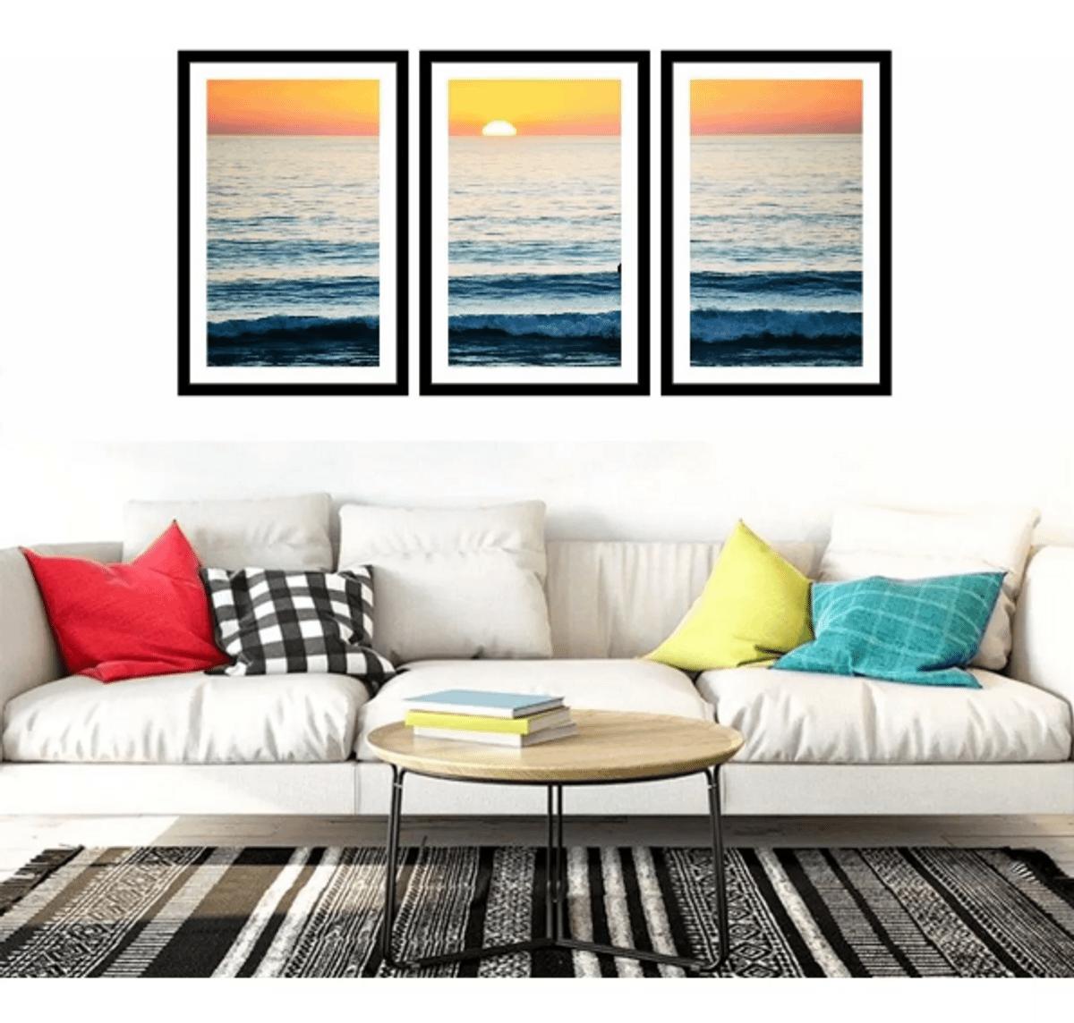 quadro praia sunset por do sol 3 peças - decoração udinese-quadros