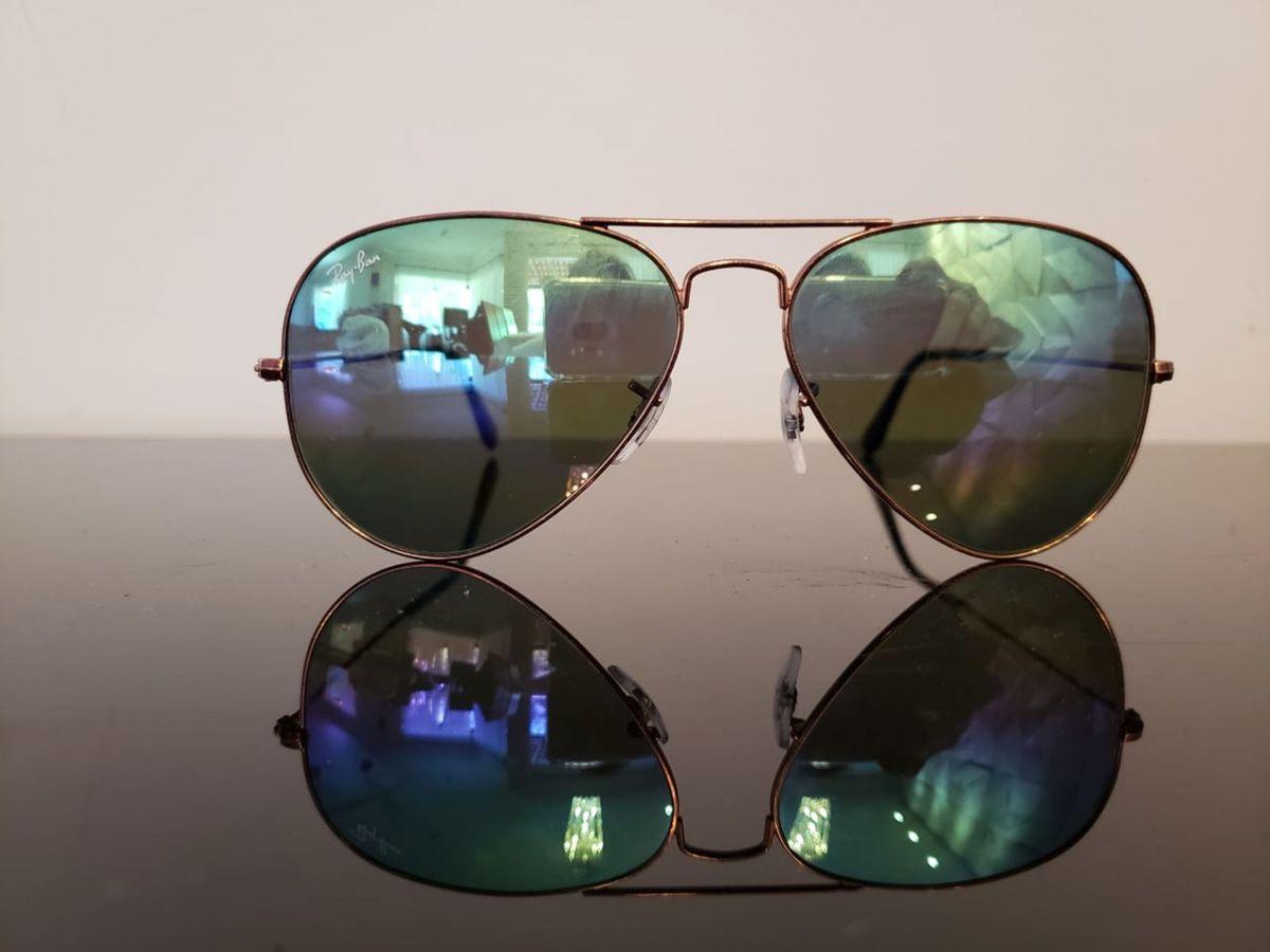 ray ban 9018 aviador, original, novo, bronze metálico, lentes espelhada  multicor - 1c98a3e6e1