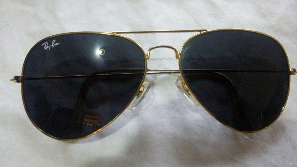 ray ban aviador 100% original armação dourada lente preta - óculos ray ban d43fc58d69