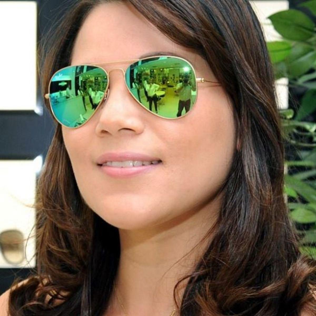 ray-ban aviador original dourado verde espelhado médio - óculos ray-ban 36e70ed24c