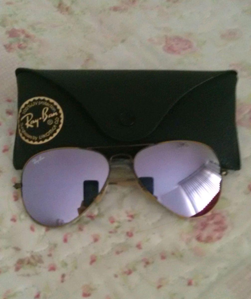 762807147 ray-ban aviador original tamanho 55-14 roxo espelhado. - óculos ray-