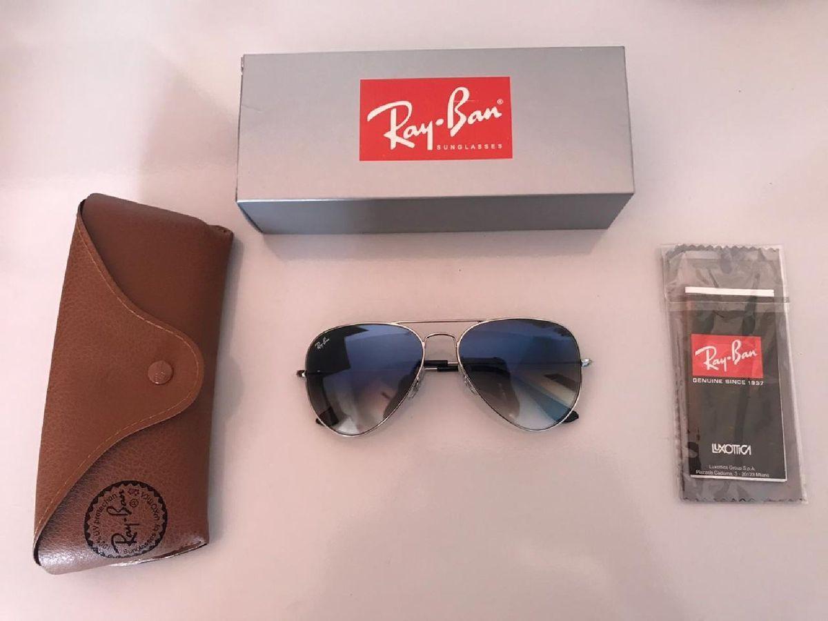 Ray Ban Aviador Prata com Azul Degradê - 3025 3026   Óculos Feminino Ray  Ban Nunca Usado 32226263   enjoei 9d0819eba9