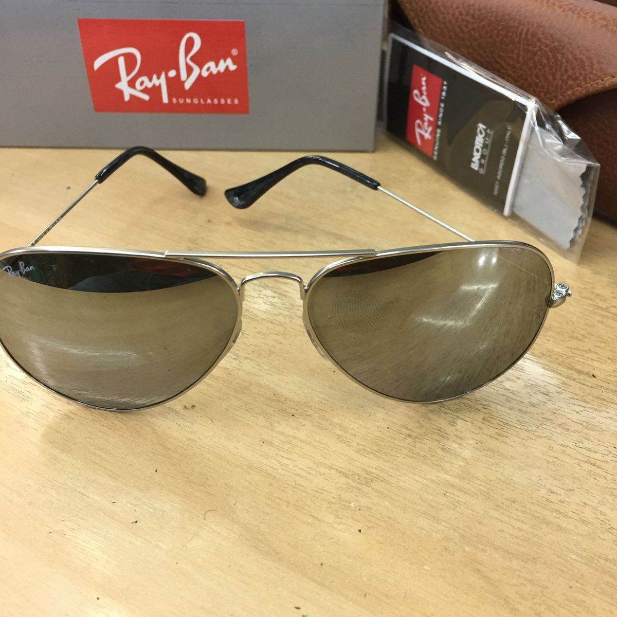 e4c3d5fb988c3 ray ban aviador prata espelhado rb3025 pronta entrega - óculos ray ban