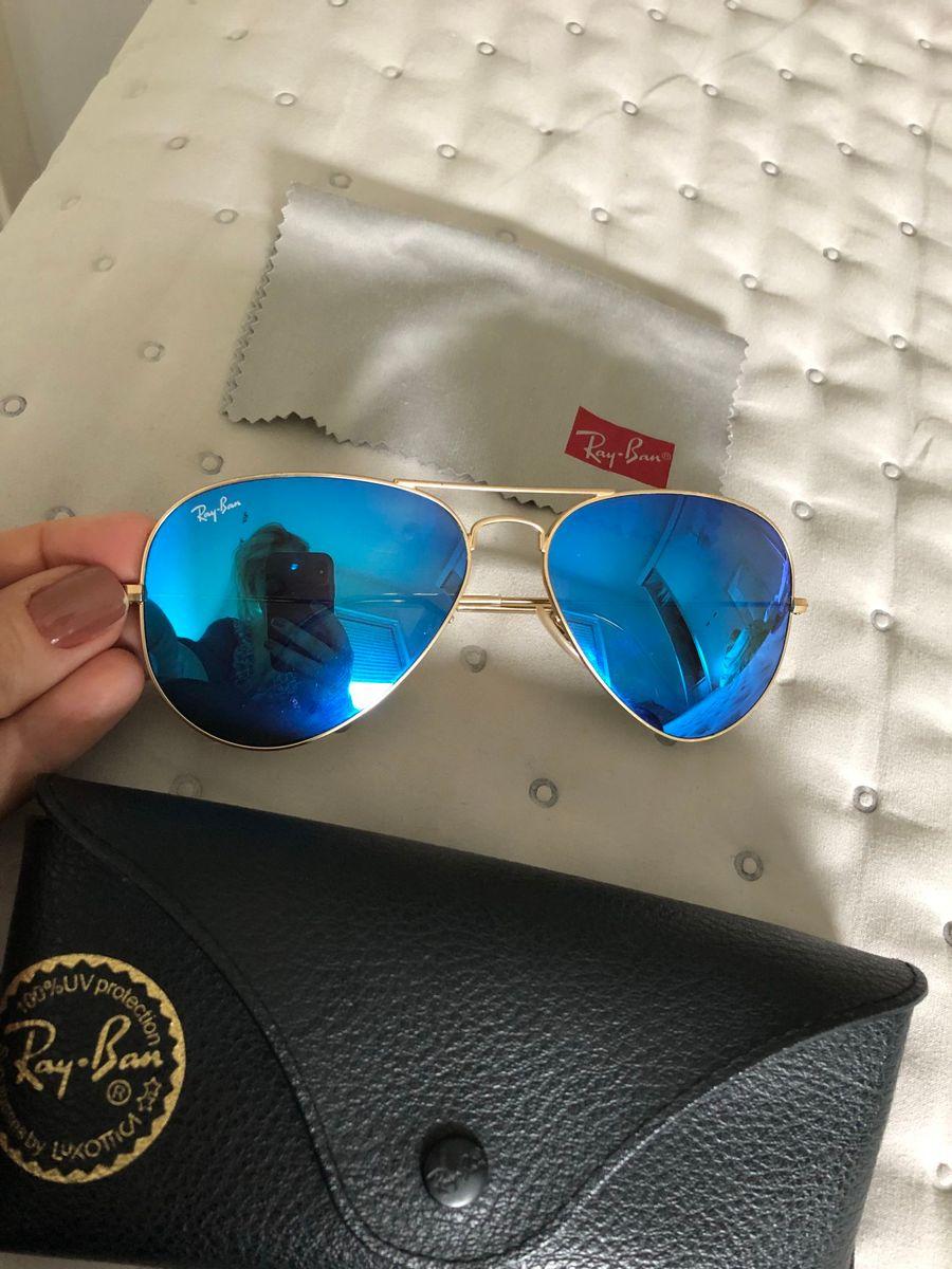 Ray Ban Azul Espelhado   Óculos Feminino Ray Ban Usado 29458669   enjoei 9dadcd9ba9
