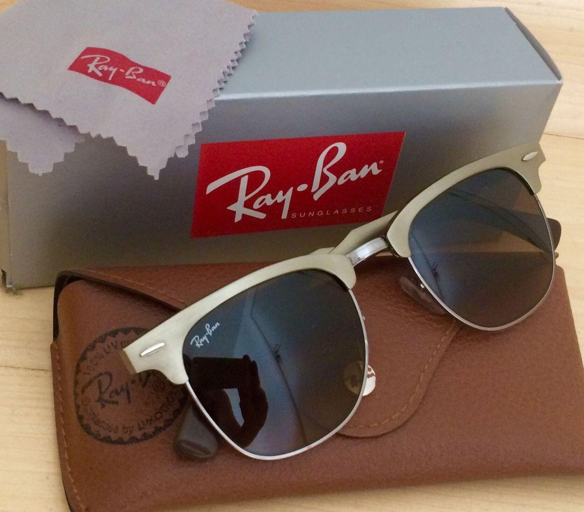 49502ffd4f31e ray-ban clubmaster aluminium lente polarizada - óculos ray-ban