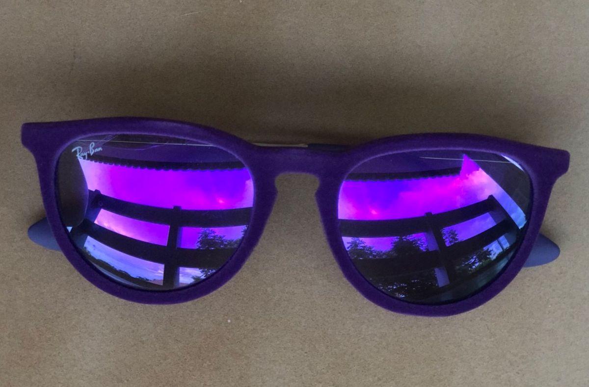 70cf0db94 Ray Ban Erika Veludo Roxo Espelhado | Óculos Feminino Ray Ban Nunca ...