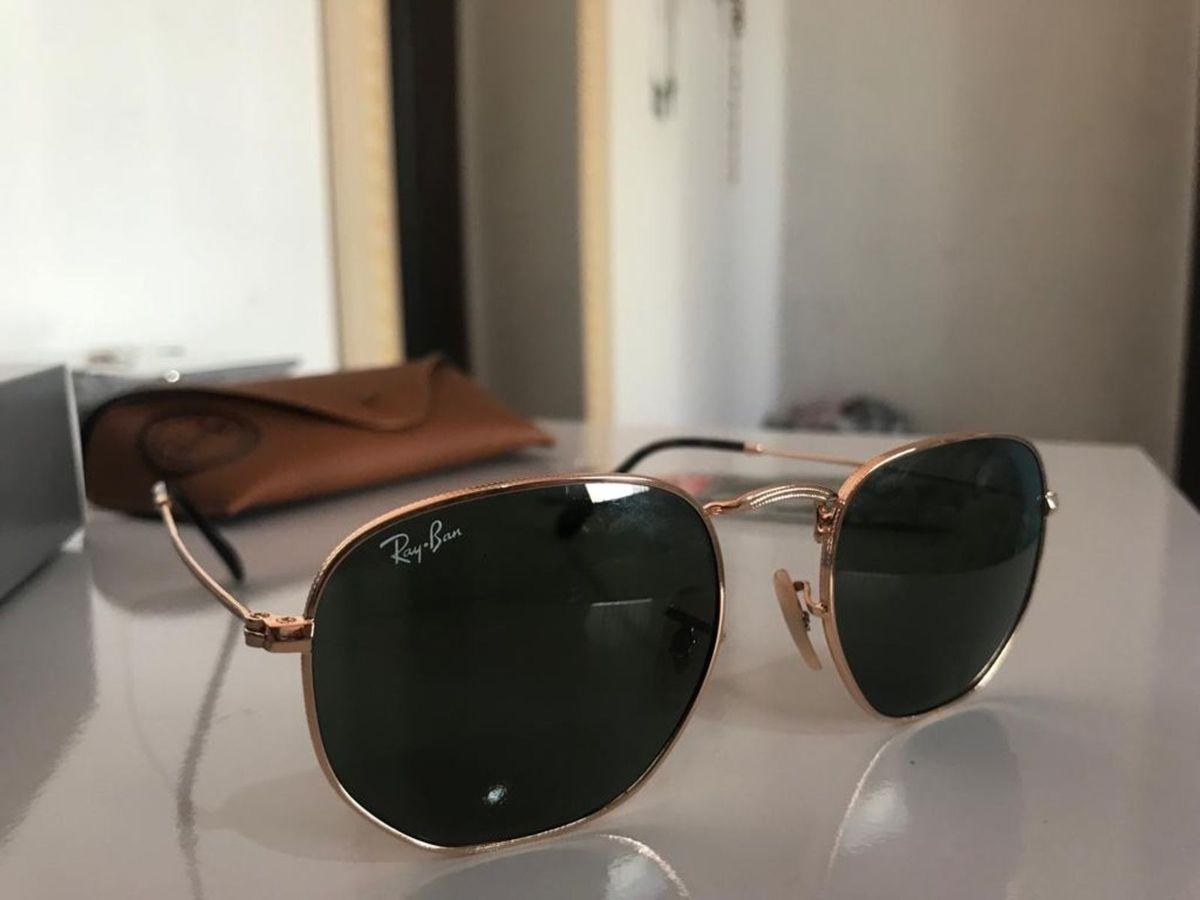 b02ddfeb1d62c Ray Ban Hexagonal Dourado com Lente Verde Escura - 3548   Óculos Feminino Ray  Ban Nunca Usado 30611783   enjoei
