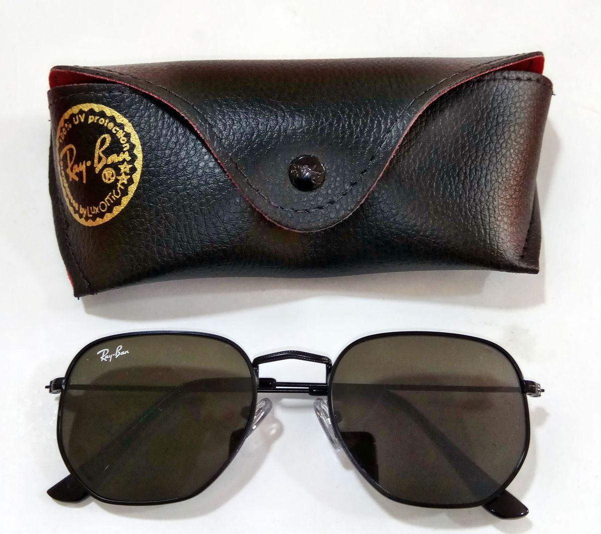 oculos rayban hexagonal preto - óculos ray-ban