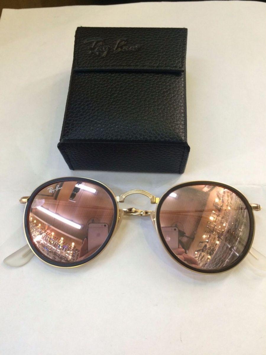 ray ban original round 3517 redondo dobravel rose rosa - óculos ray ban, ray  ban d81de87c5a