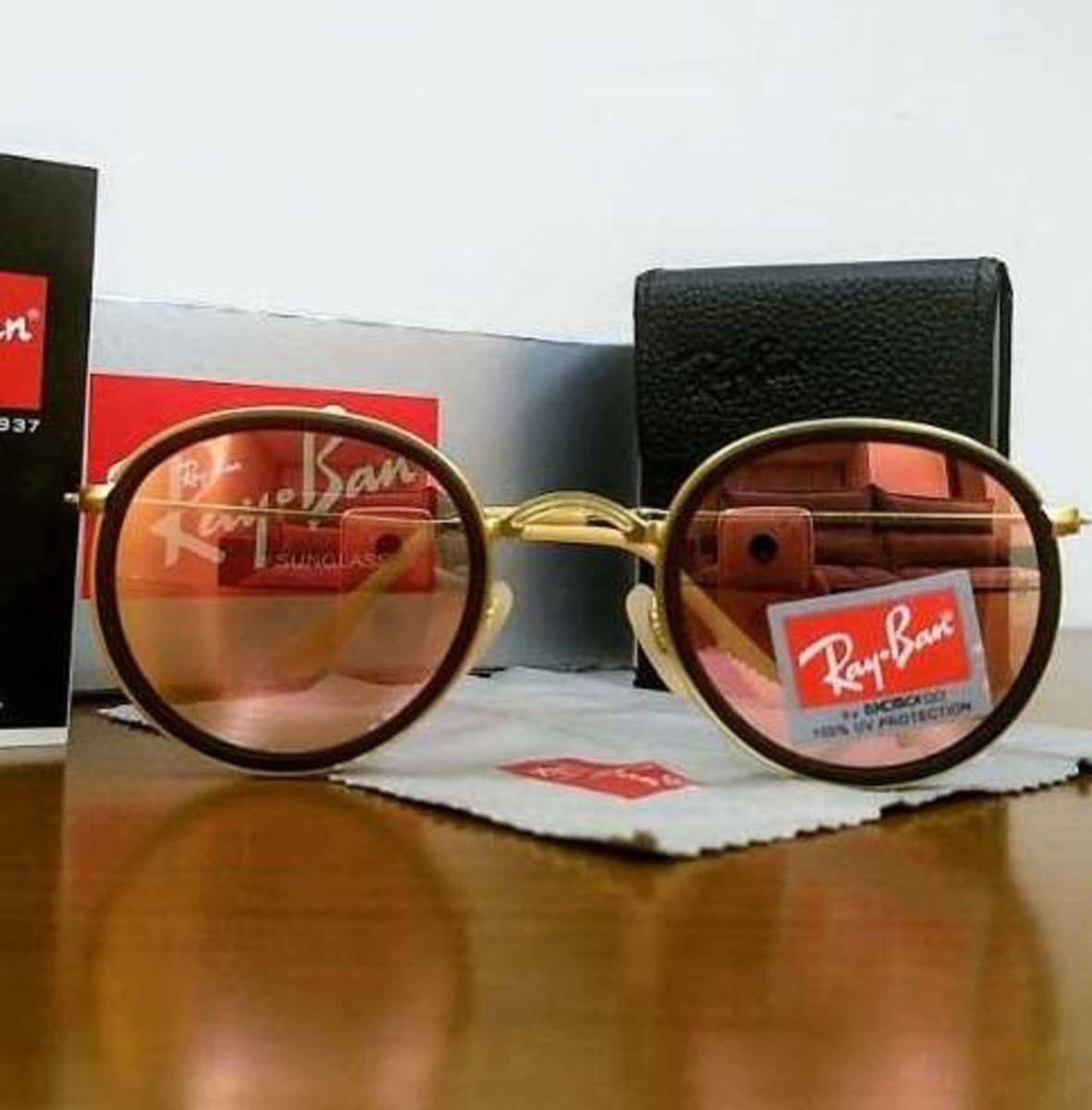 Ray-ban Round Dobrável Rose Espelhado - Rb3517 54   Óculos Feminino ... f45e38bf55