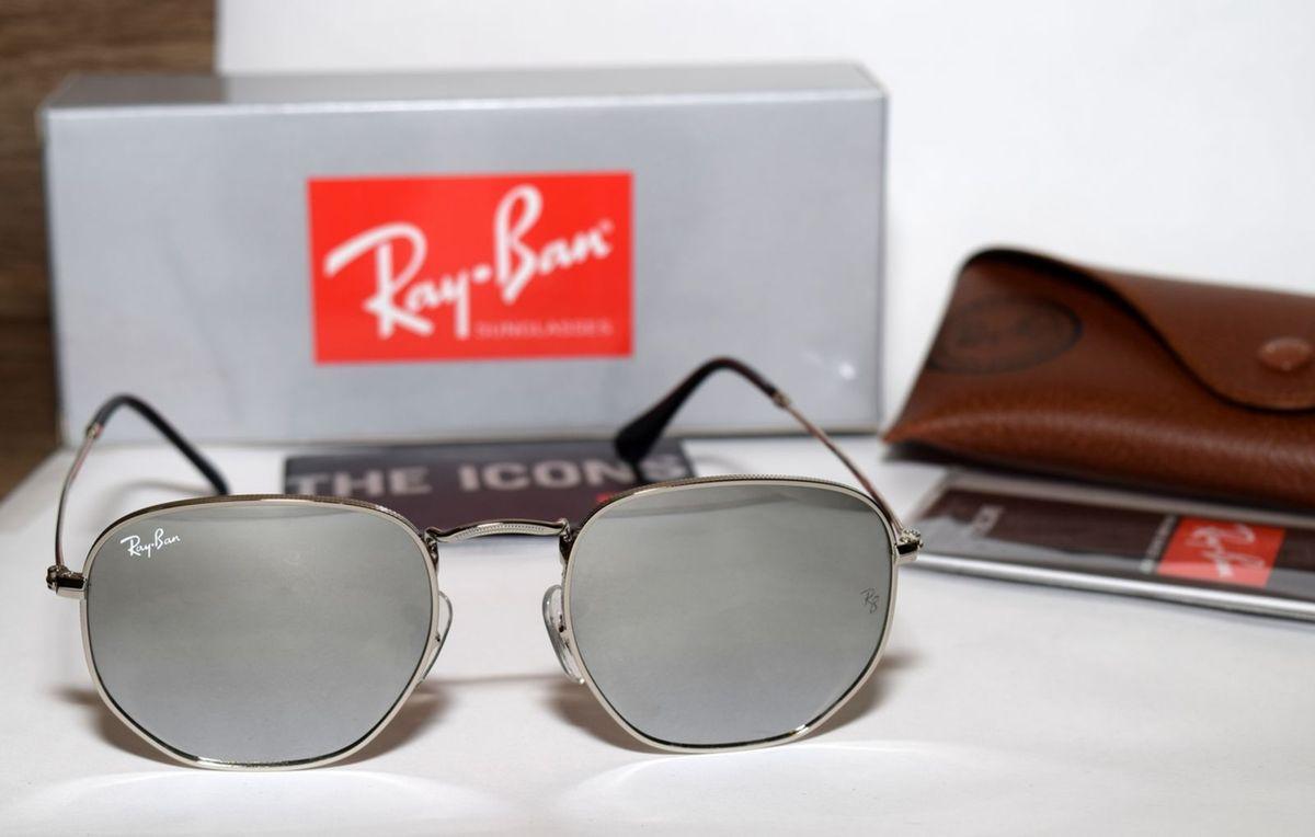 c2465a552809e ray-ban round hexagonal rb3548 tamanho 51 prata lentes espelhadas - óculos  ray-ban
