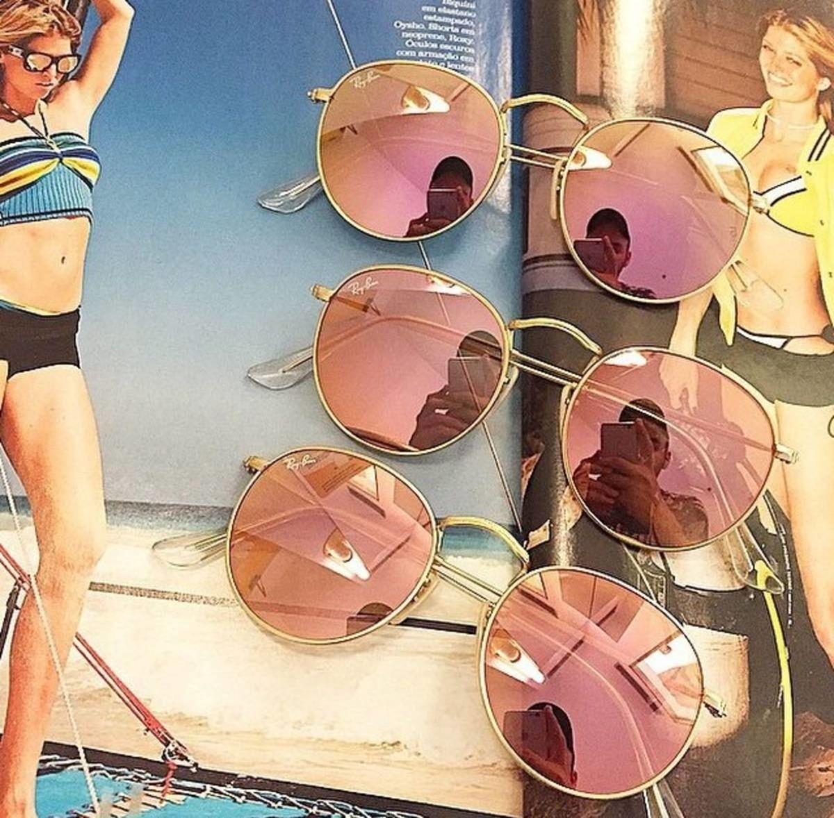 ray-ban round metal original dourado rosa espelhado - óculos ray-ban 3a32e94912