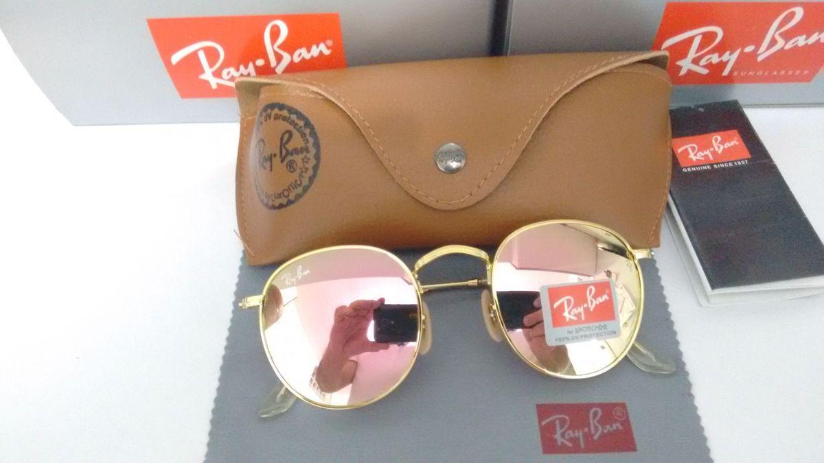 47c6d879fea86 ray ban round metal rb3447 john lennon rose espelhado armação dourada  brilhante - óculos ray-