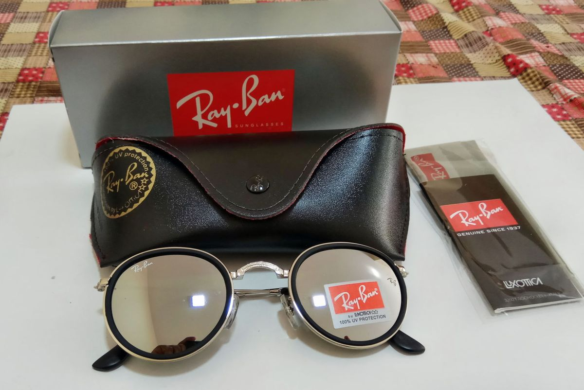 Ray Ban Round Prata Espelhado Rb 3517   Óculos Feminino Ray Ban ... b754cb3142