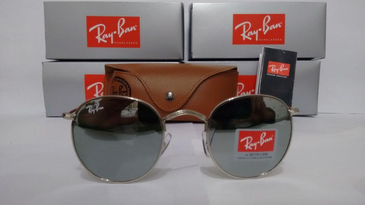 Ray Ban Round Rb3447 John Lennon Prata Espelhado   Óculos Feminino ... 740fa4cadc
