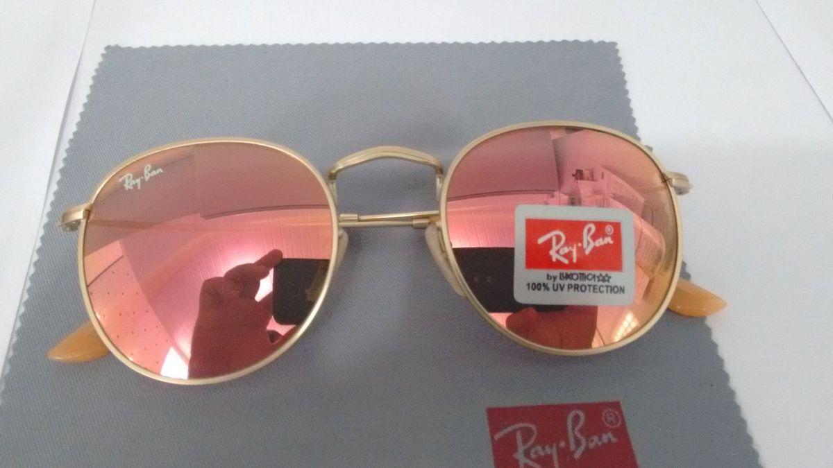 Ray Ban Round Rb3447 John Lennon Rosa Espelhado   Óculos Feminino ... 2eb6fbe75dd5
