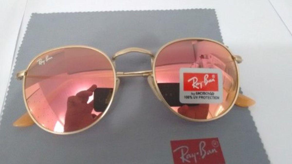 ray ban round rb3447 john lennon rosa, lente de cristal - óculos ray ban, 503d4a2858