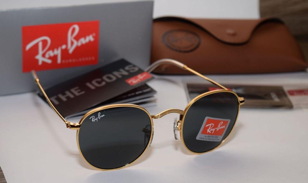 ray-ban round rb3447 round dourado lentes pretas - óculos ray-ban a2d494051433e