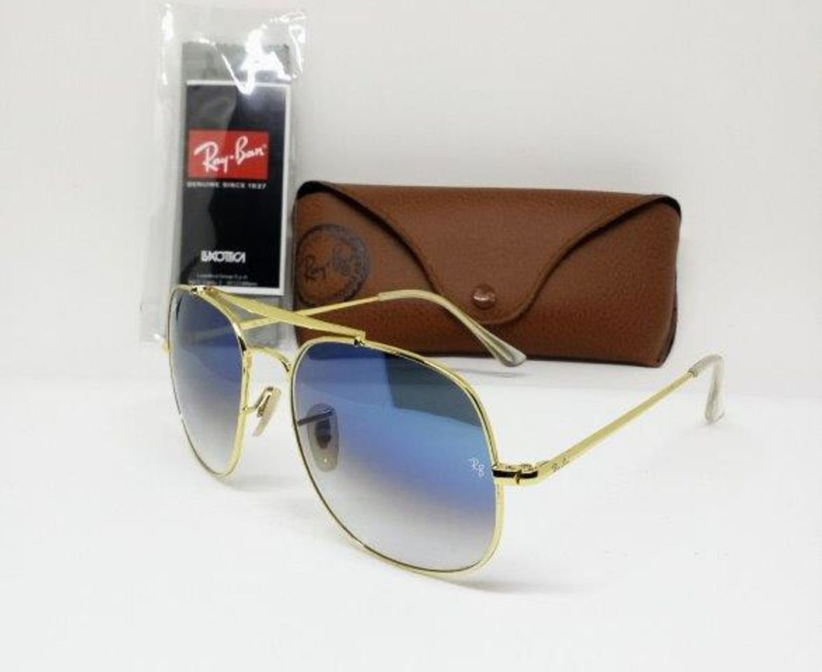 ray ban the general rb3561 dourado com azul degradê - óculos ray-ban 583a8f7e46