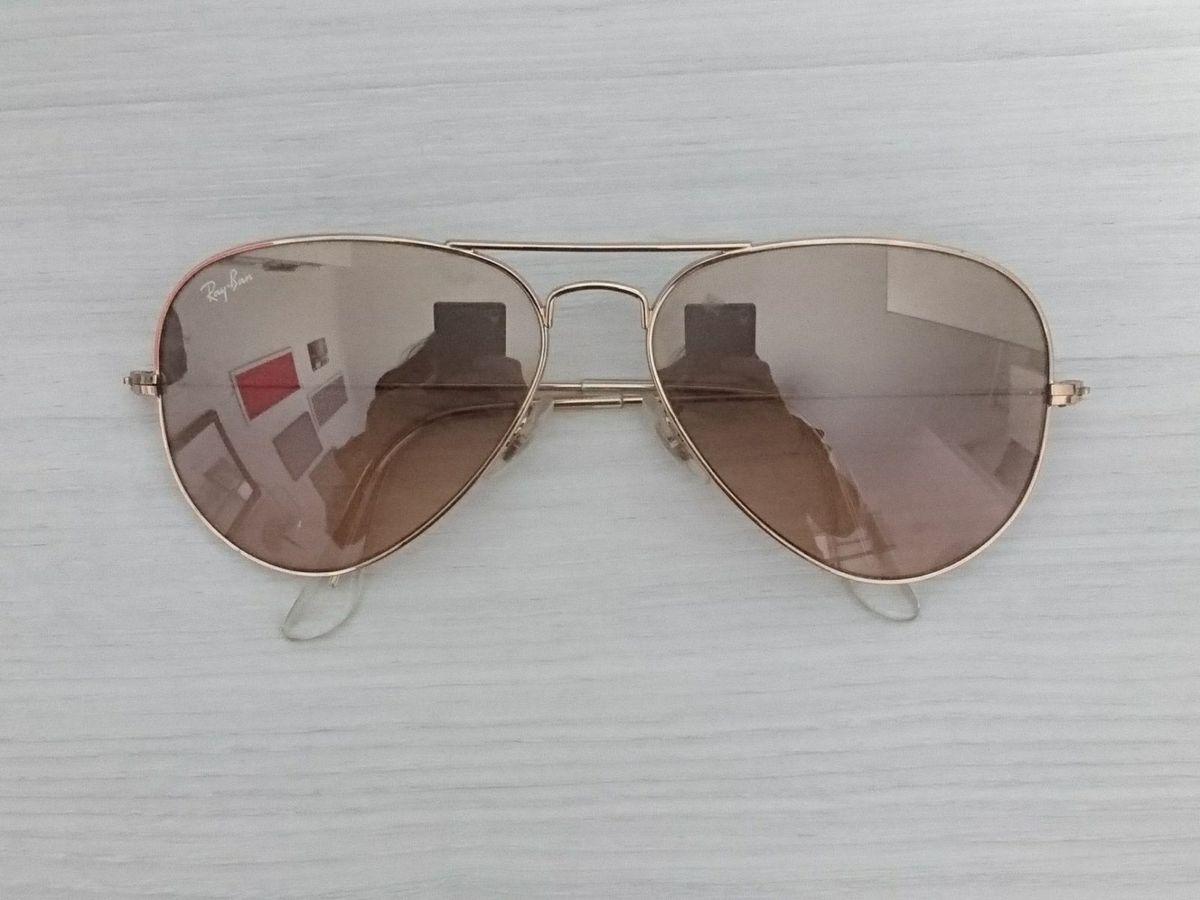 Rayban Aviador Marrom Espelhado Original   Óculos Feminino Ray Ban ... 90ba6797a2