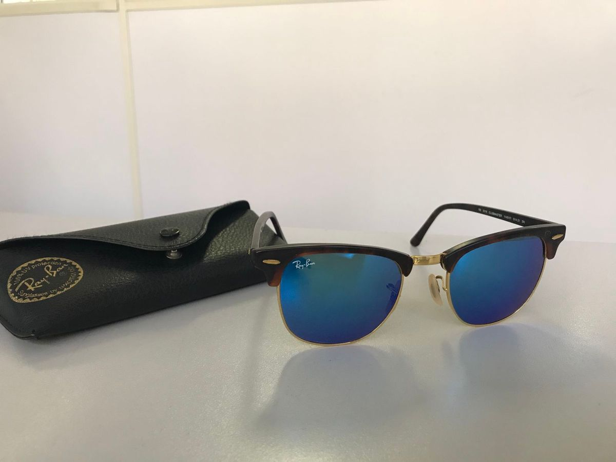 Rayban Clubmaster Espelhado Azul   Óculos Feminino Rayban Usado 23096794    enjoei 8156470a3b