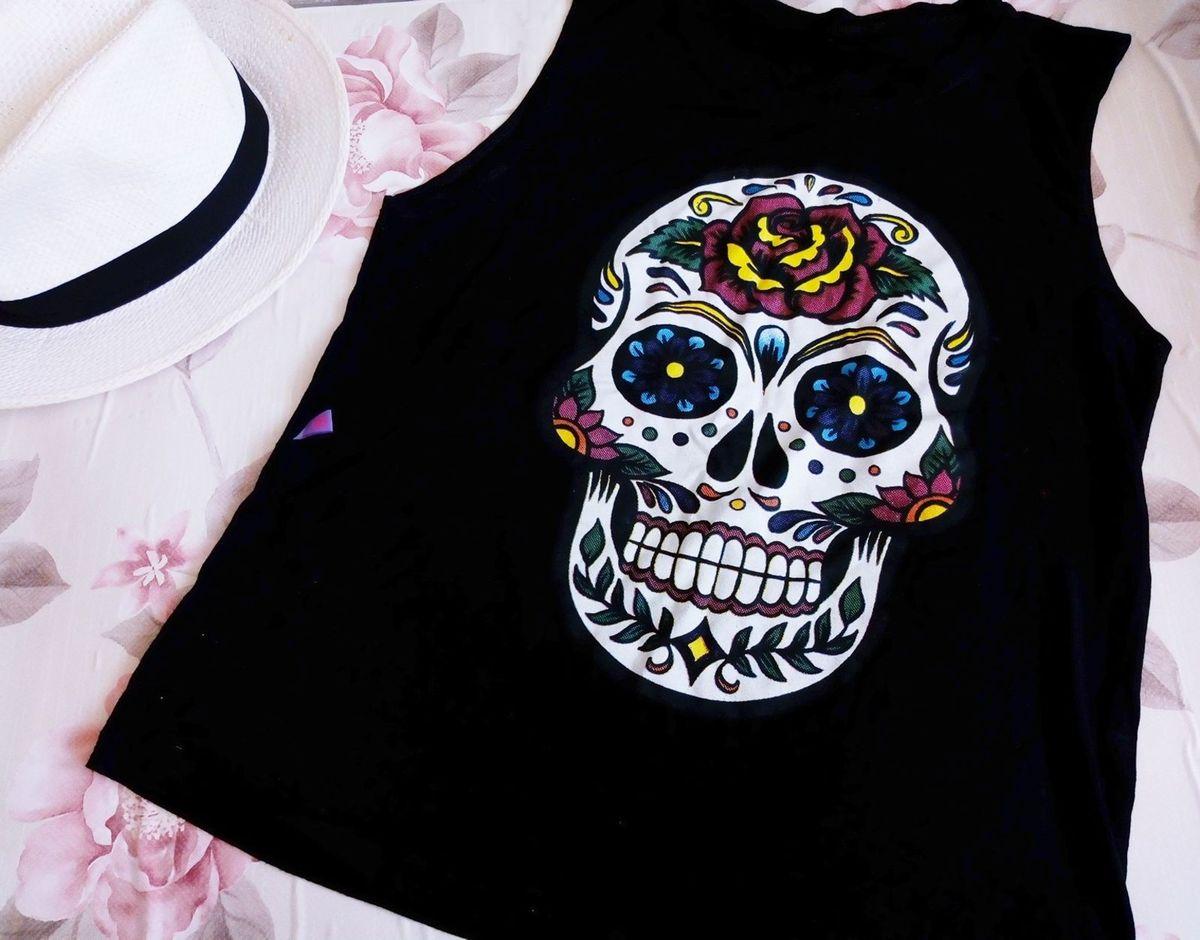 regata preta caveira mexicana - camisetas sem-marca 815343e447e