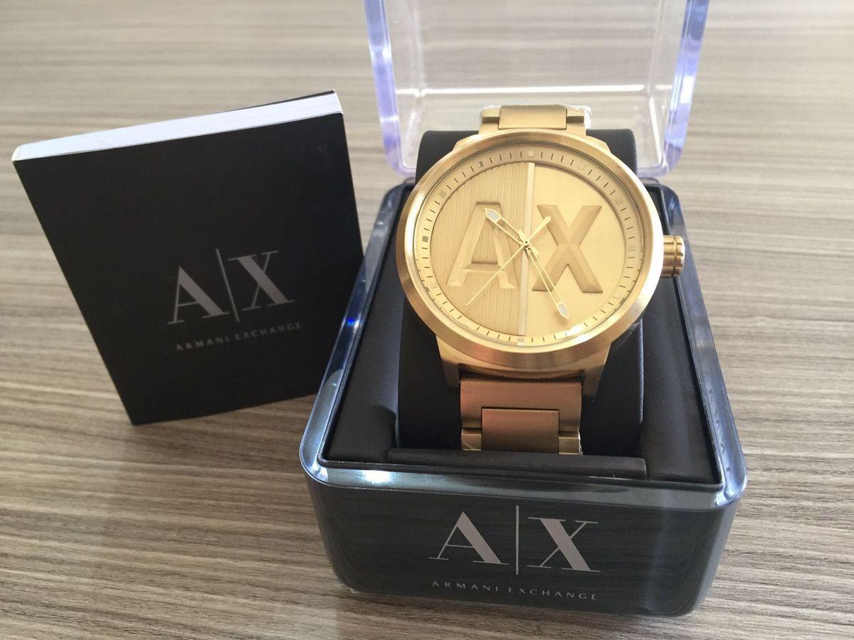 1277716370c46 relogio armani exchange dourado caixa manual - relógios armani exchange