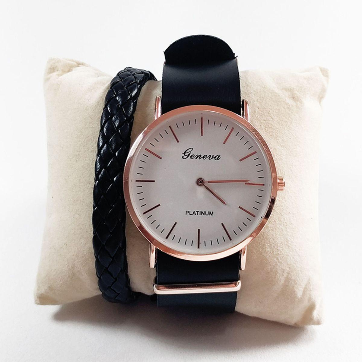 40e15895979 Relógio Bracelete Couro Preto + Brinde Pulseira Trançada