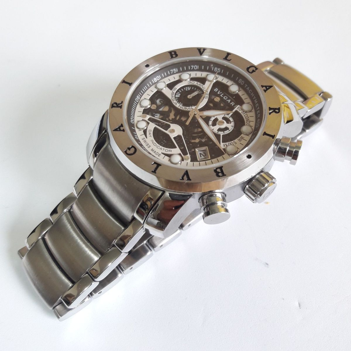 a78f5ca1d2b77 relógio bvlgari subaqua skeleton prata com preto!!!! - relógios bvlgari