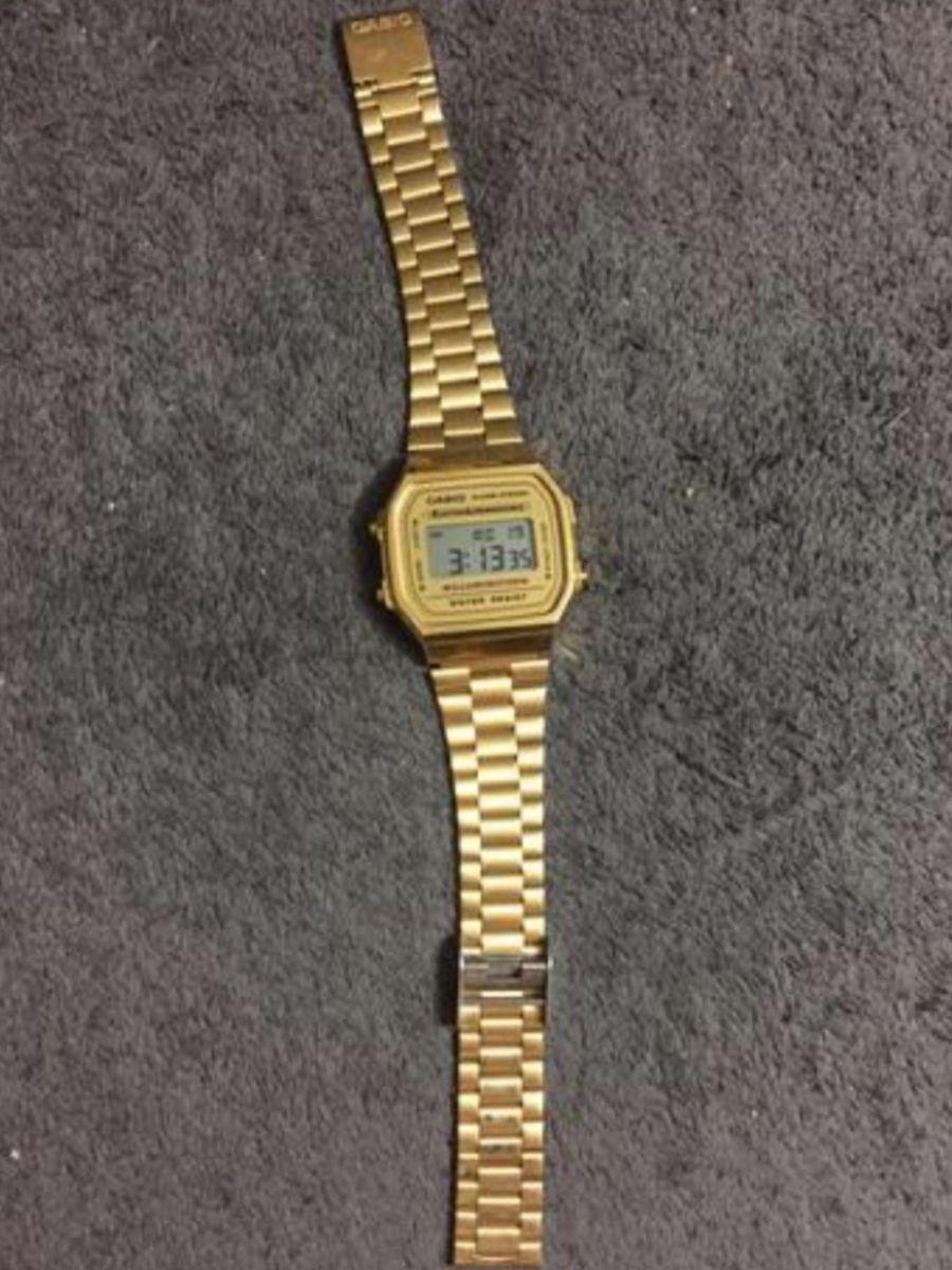 82067db8746 relogio casio dourado seminovo unissex - relógios casio