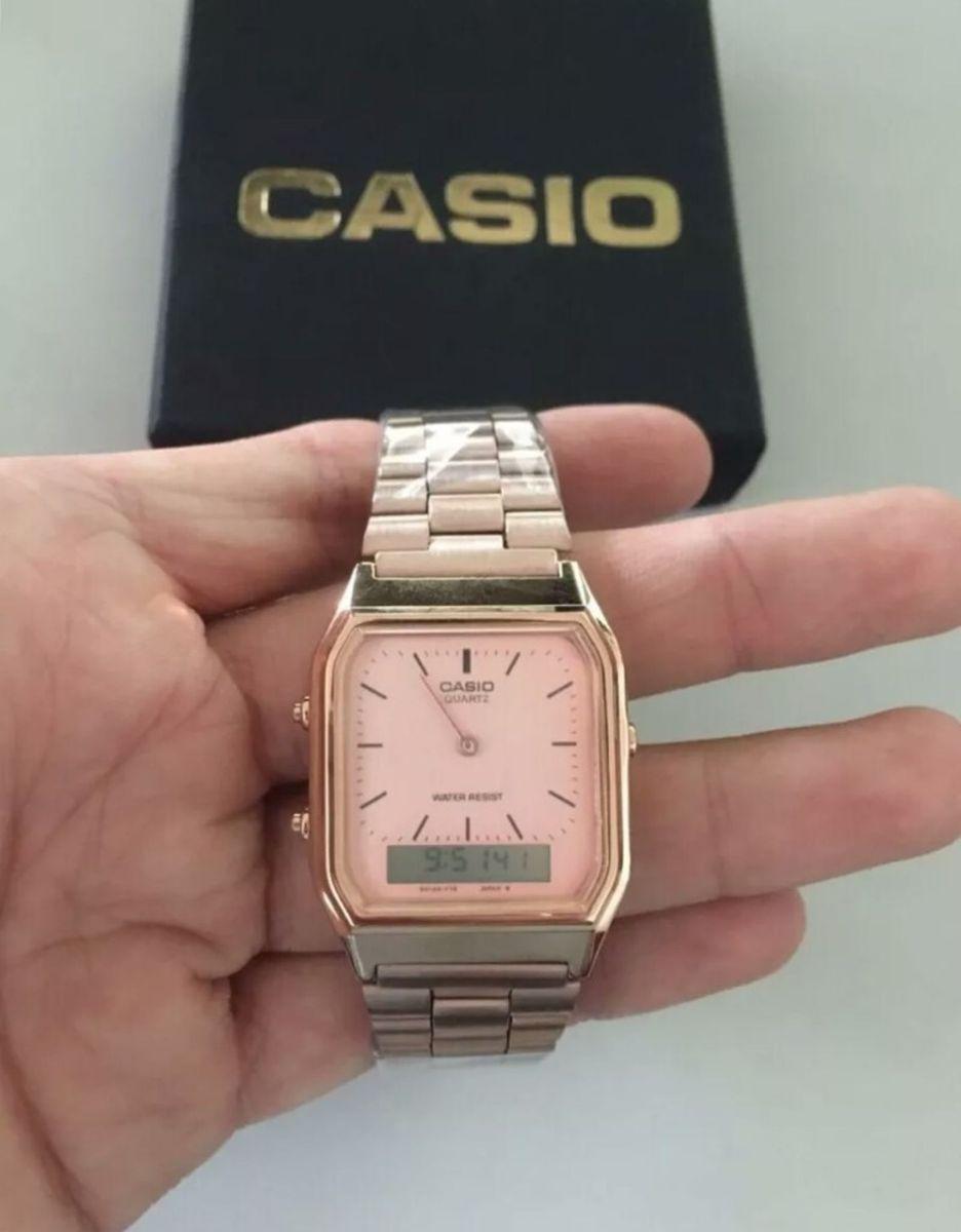 f7835d93b4f ... Rel gio Casio Vintage Anadigi Aq 230 A o Fundo Preto Novo Original