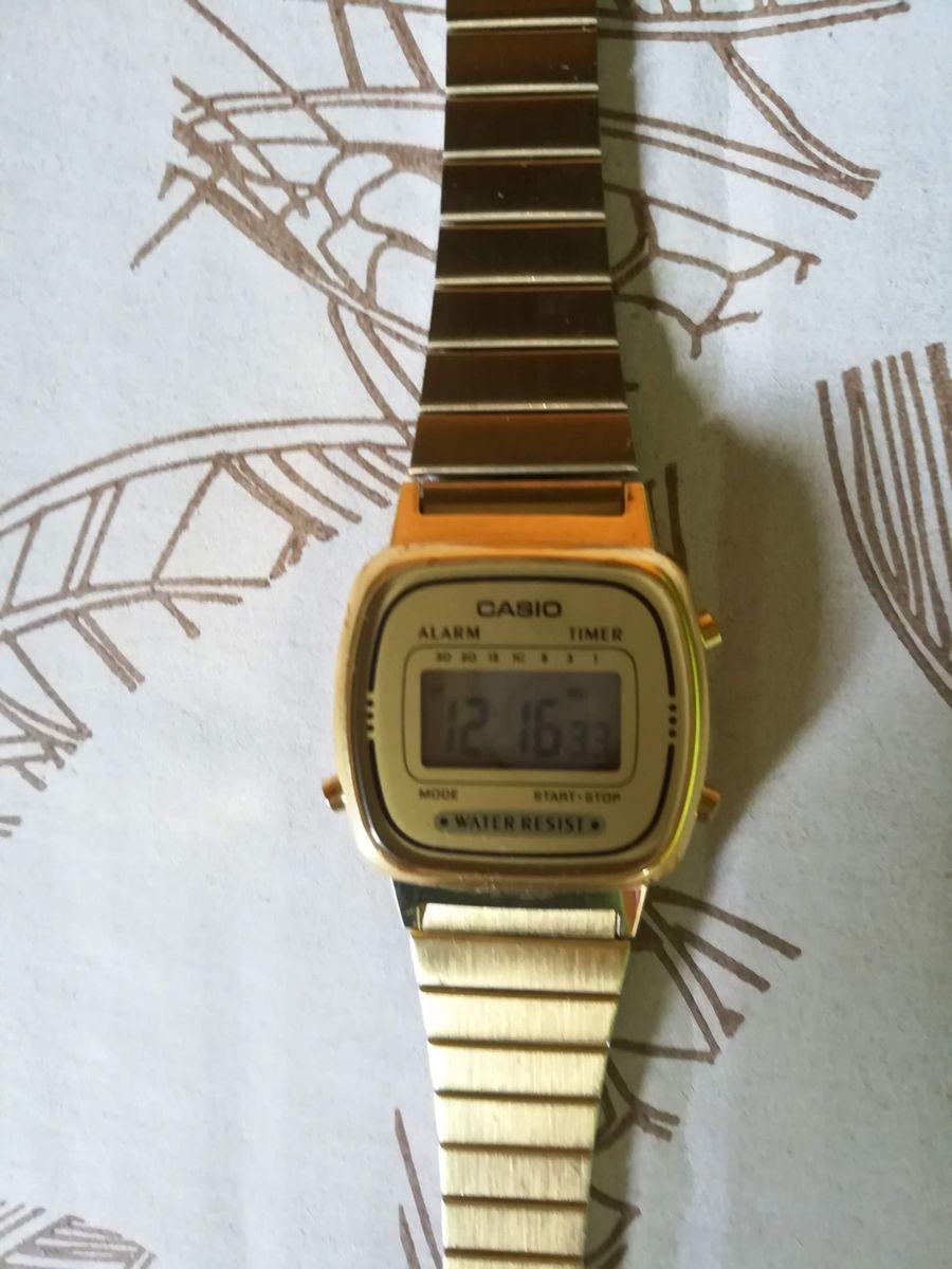 2b8567124e5 relógio casio vintage mini dourado - relógios casio