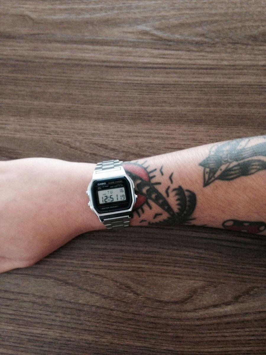 fab87d96b4d relógio casio vintage unissex prata digital a158wa-1df - relógios casio