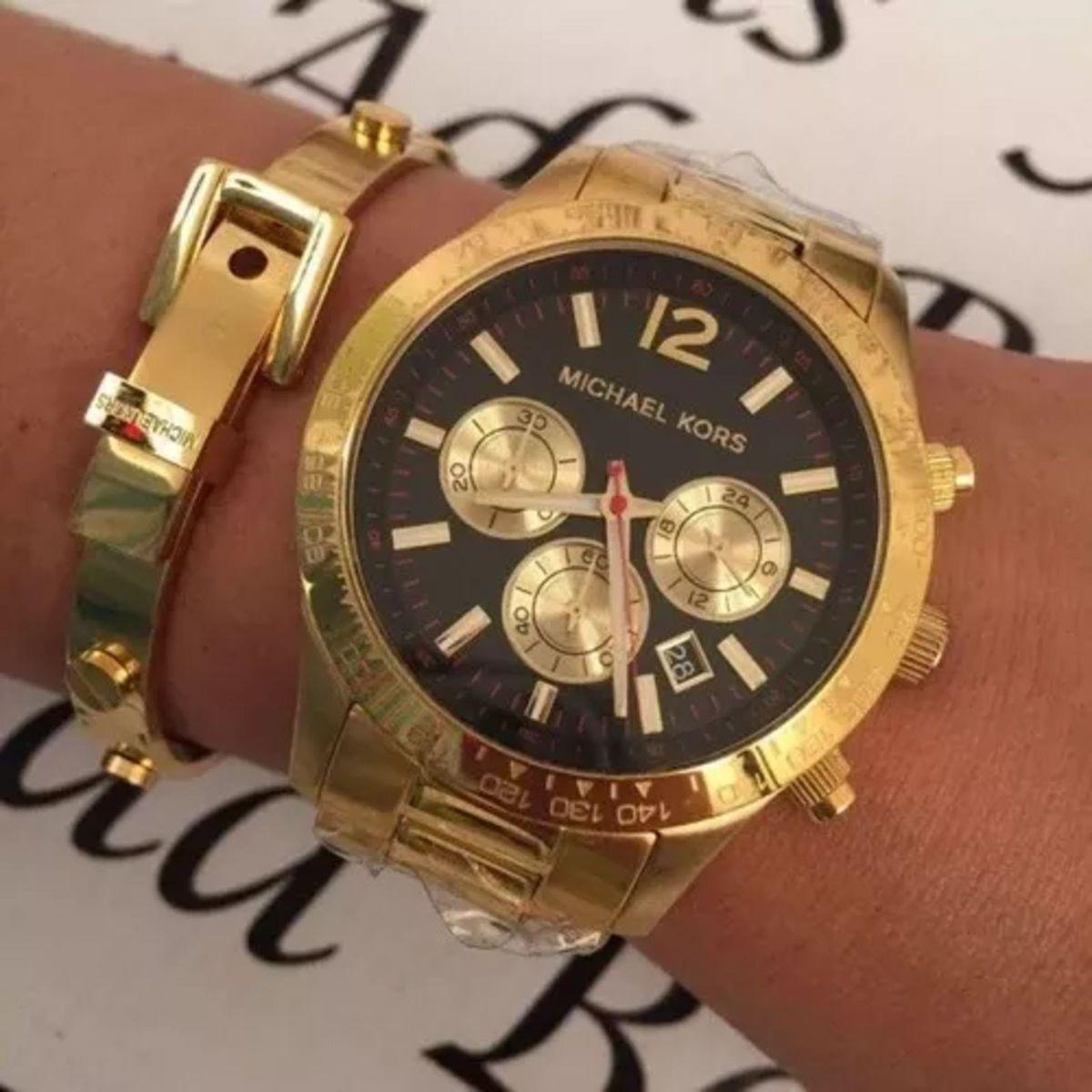 566090accb6df Relógio Ck3161 Feminino Michael Kors Mk8214 Dourado Grande Caixa e Manual  Jey38