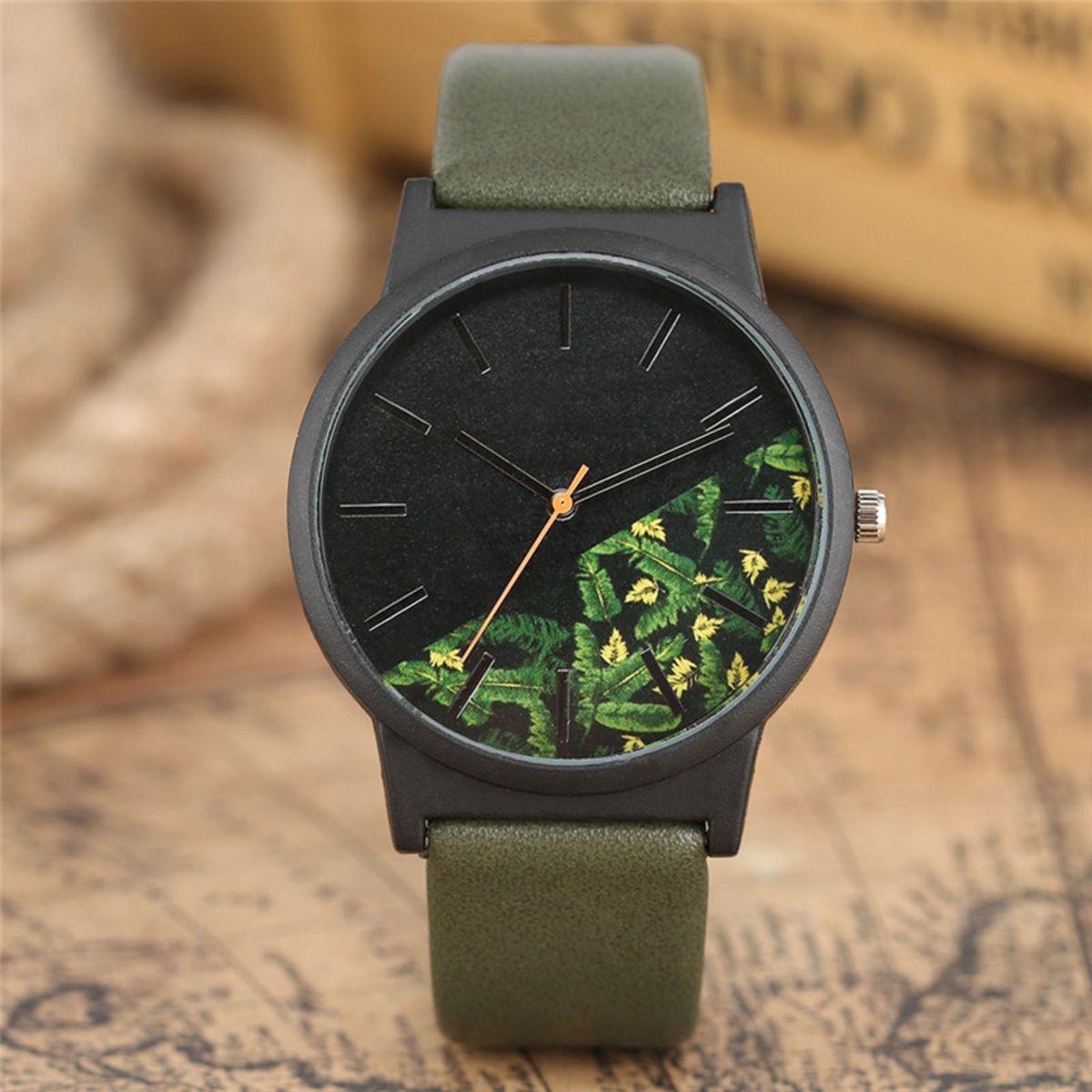 b56e01a998f Relógio de Pulso Analógico com Visor Estampado Floral   Folhagem - Verde  Musgo