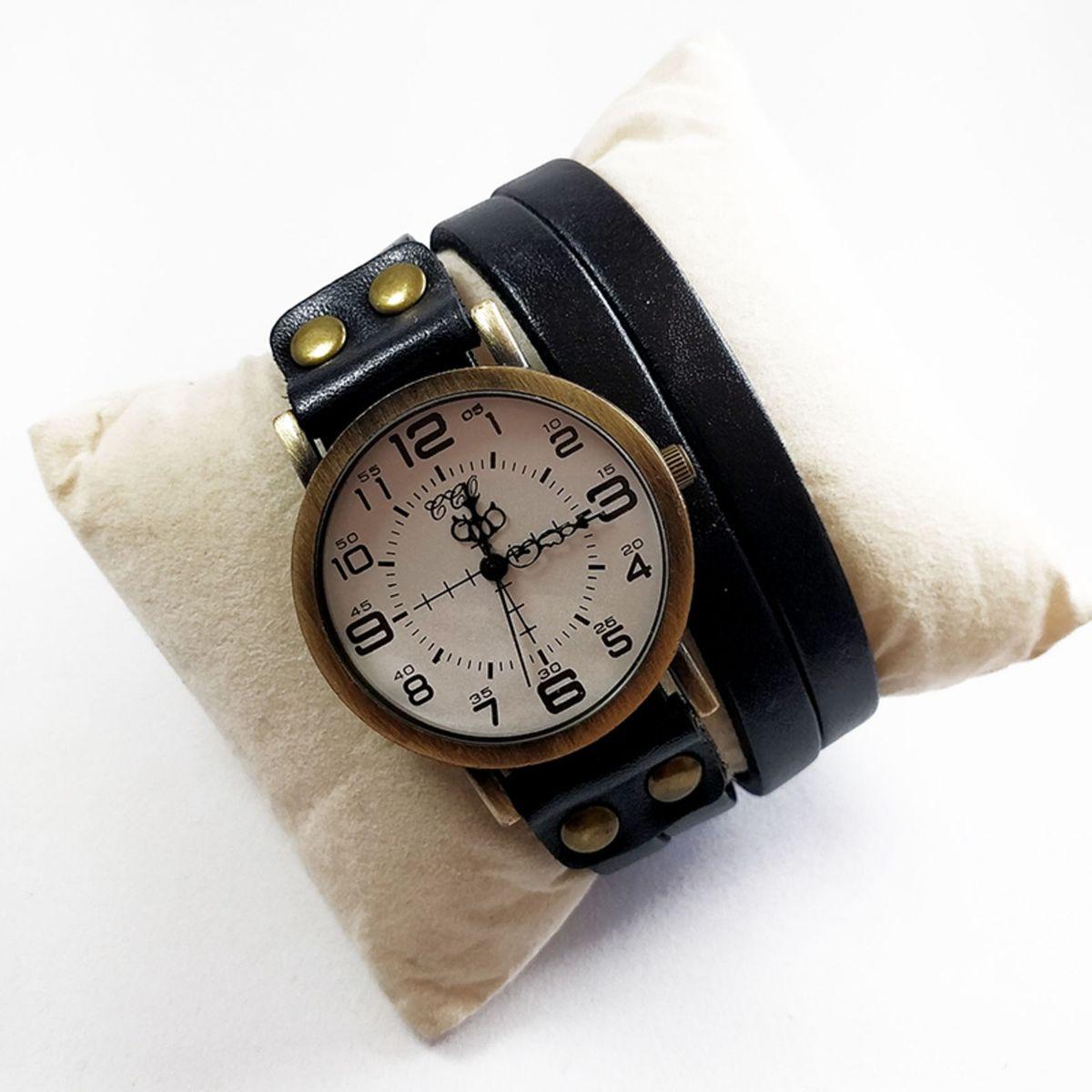 dd6083b6281 Relógio de Pulso Ccq Estilo Bracelete Volta Dupla Pulseira Couro .