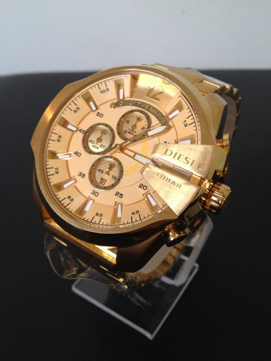 6064b2de9a4 relogio diesel dourado banhado ouro - relógios diesel