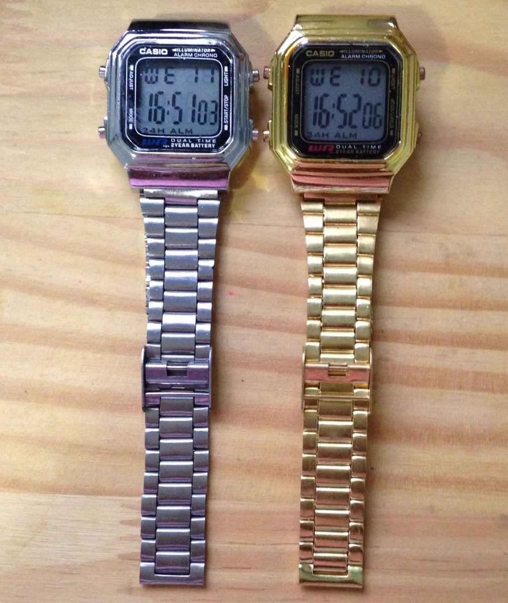 9bfa0d4068f relógio digital vintage - dourado ou prata - relógios sem marca
