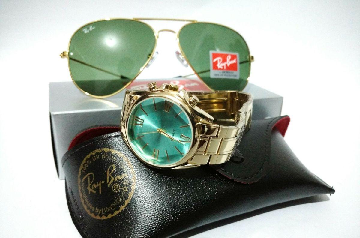 relógio dourado + aviador ray-ban 3026 verde feminino - óculos ray-ban daefa44974