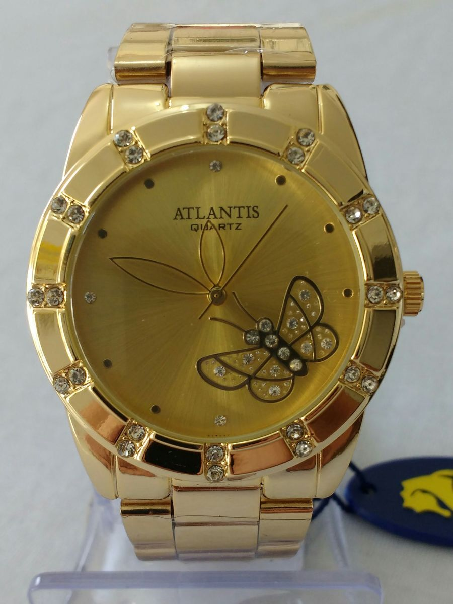 8e76b9f8014 relógio dourado feminino atlantis original frete grátis - relógios atlantis