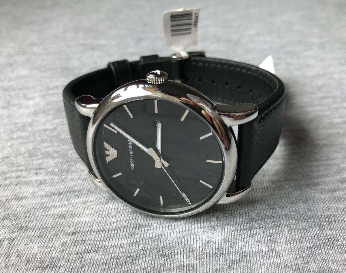 d79075dc0ab relógio empório armani ar1692 preto couro aço - relógios empório armani