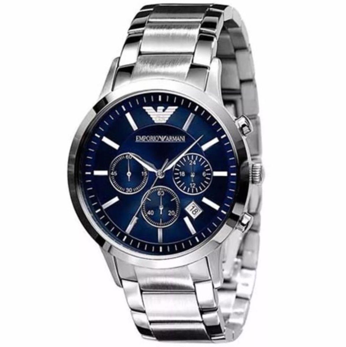 e933532e449 relógio emporio armani ar2448 aço escovado azul original - relógios emporio  armani