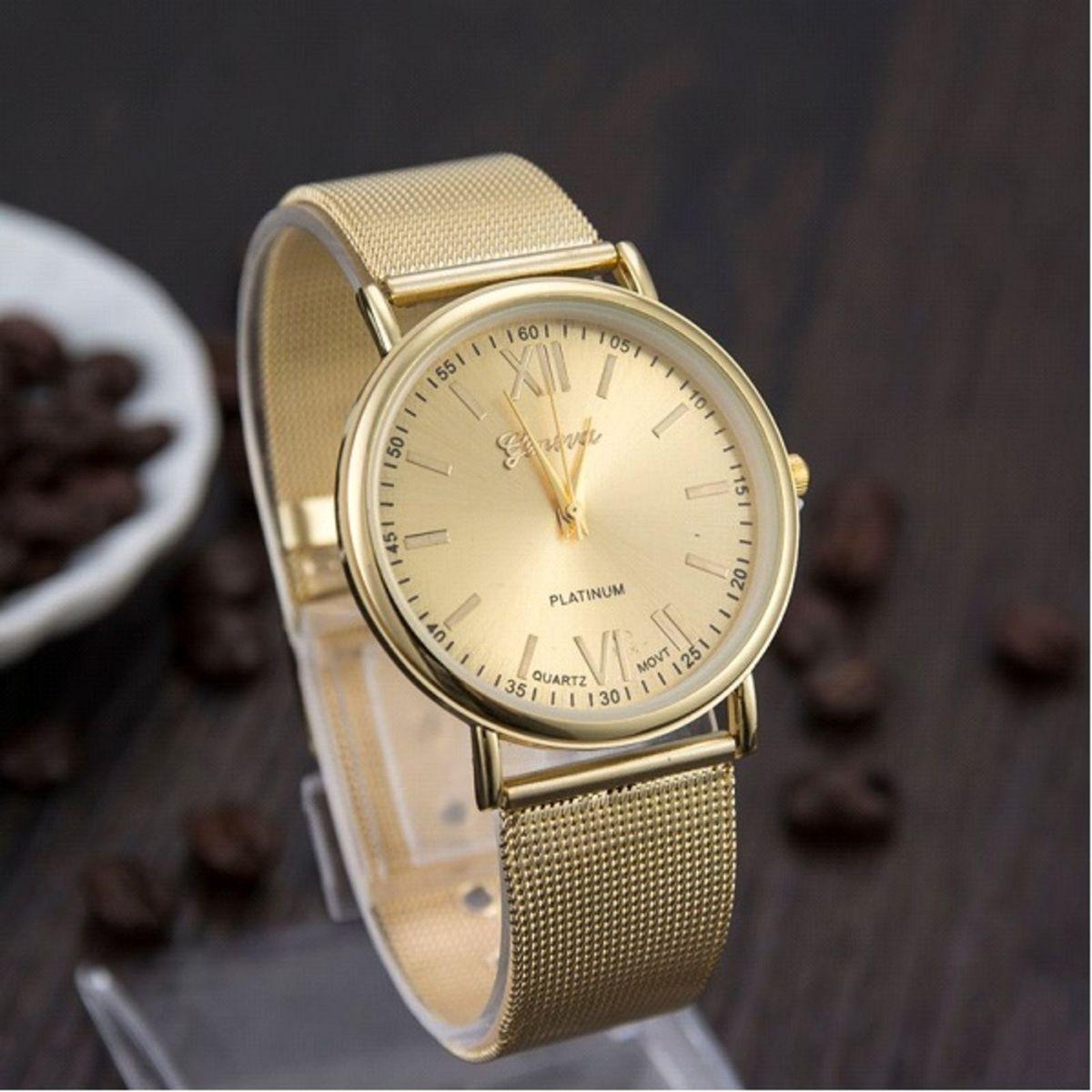 adf66f6bf4c Relógio Feminino Dourado Aço Luxuoso