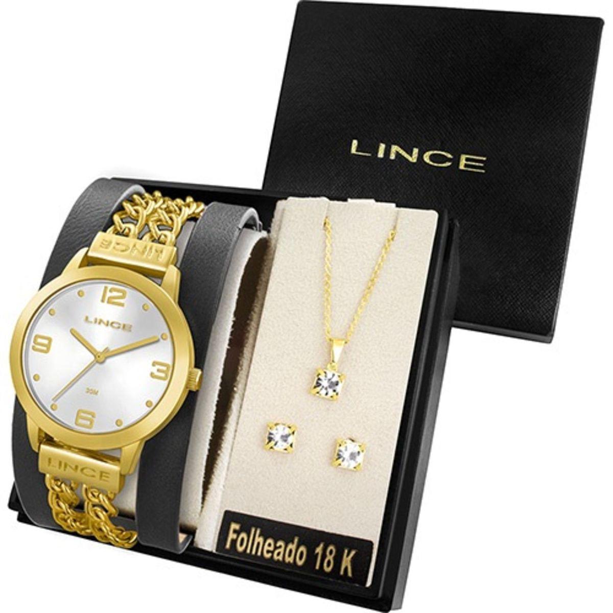 23cb6b4a67d Relógio Feminino Lince Analógico Fashion com Colar e Brincos ...