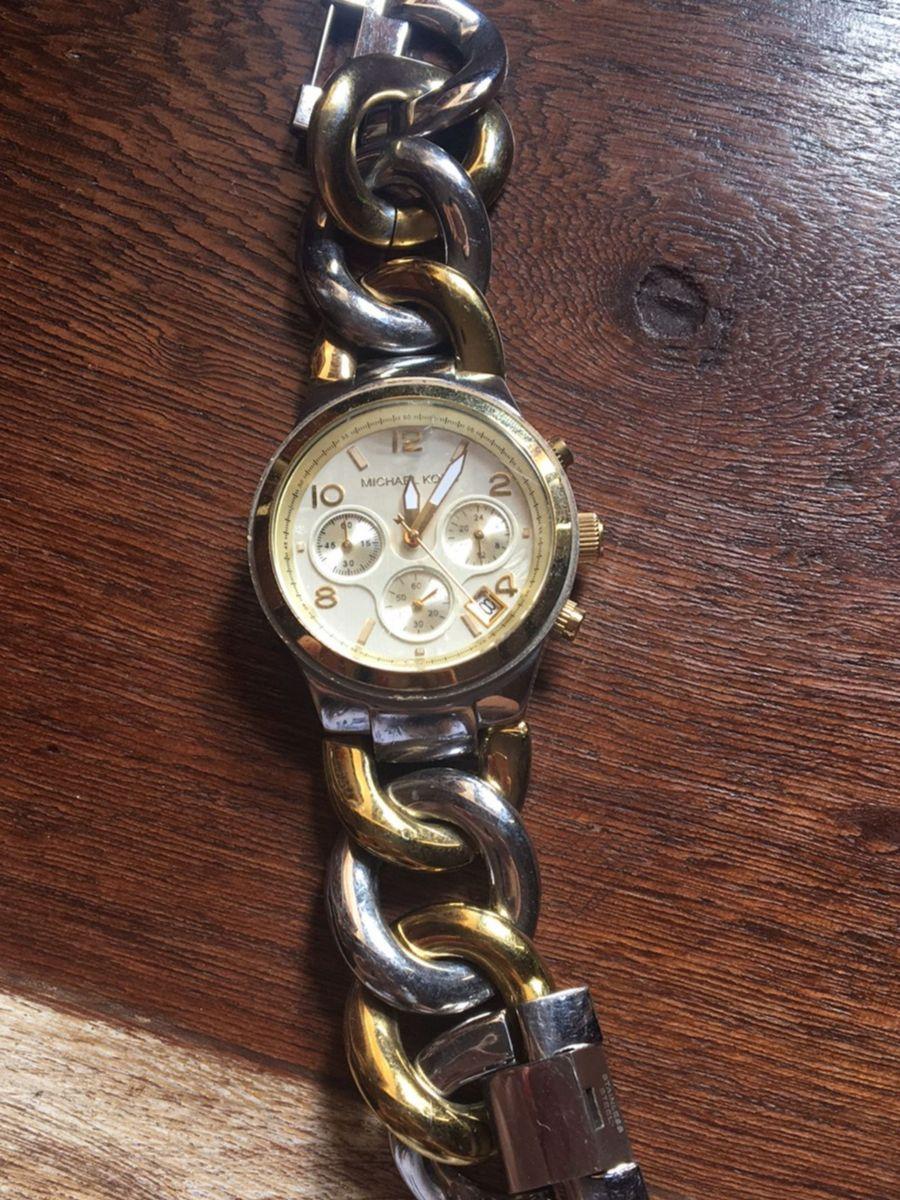 4b7e252dc95 relógio feminino michael kors dourado e prata - relógios michael kors