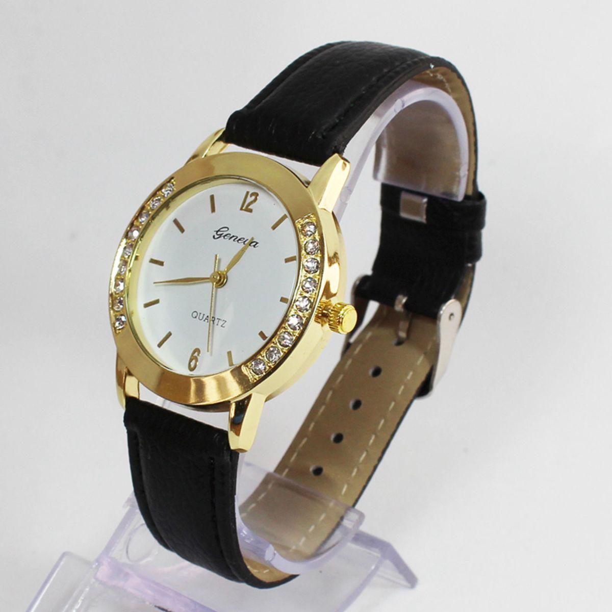 42b0dd3576b Relógio Feminino Preto Couro Strass Clássico