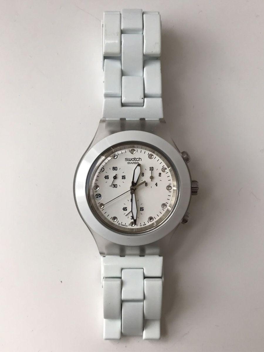 c7a4f7f80d8 Relógio Feminino Swatch Diaphane Branco